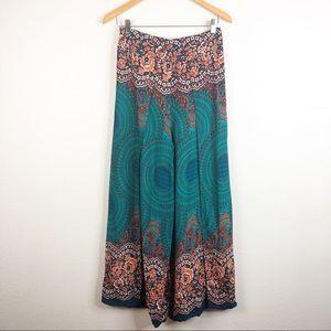 Boho Harem Gypsy Pants Turquoise Wide Leg Wrapped
